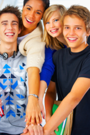 A group of teens smiling